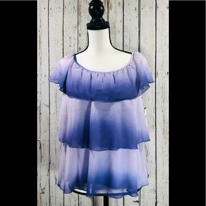 Ruffle Purple Ombré Top by AGB